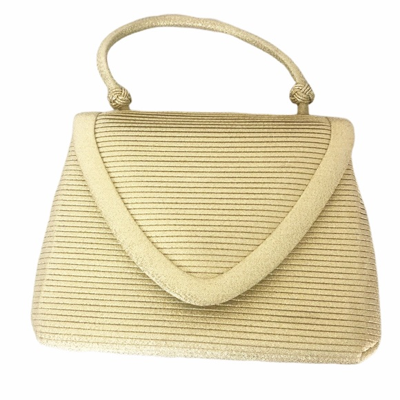 Vintage Handbags - Vintage mini gold ribbed handbag snap closure